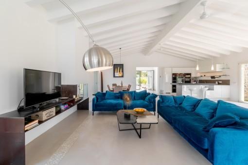 Spacious living area with stylish sofa