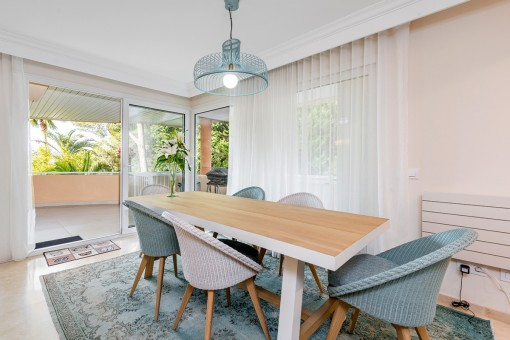 Lovely dining area with panoramic windows