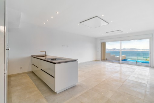 Modern kitchen and large panoramic windows