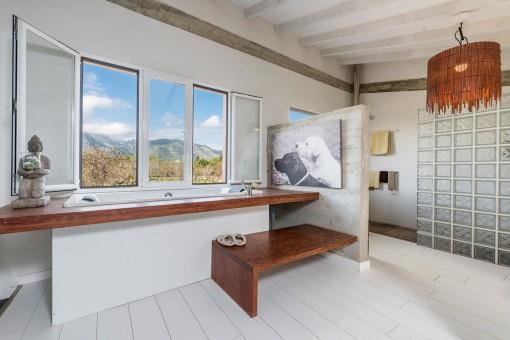 Unique bathroom with bathtub