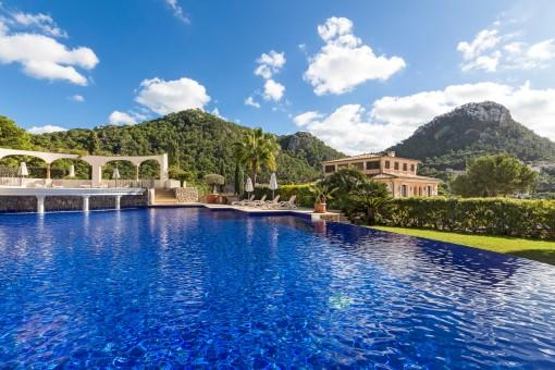 Large communal pool with idyllic views