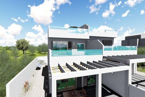 The house offers 3 terraces
