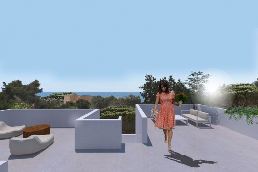 Spacious roof terrace with impressive sea views
