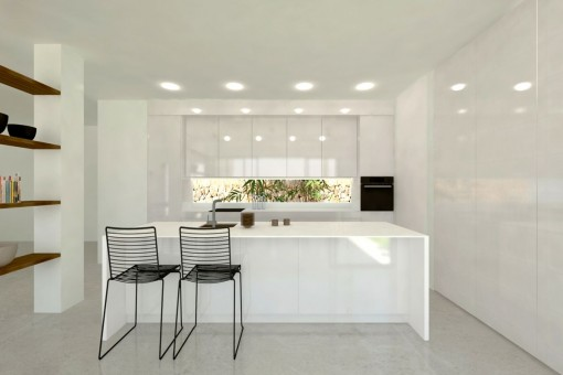 Modern and fully equipped kitchen with bar