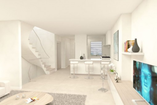 Modern kitchen with staircase