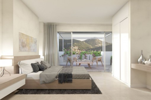 Alternative view of the bedroom with mountain views
