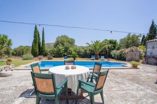 Sunny terrace beside the pool area