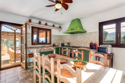 Light-flooded dining area