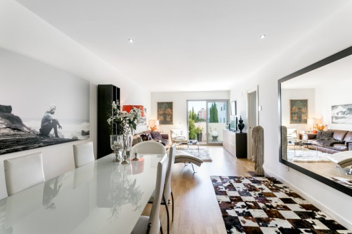 Living and dining area with terrace access