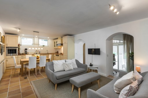 Further living and dining area with kitchen