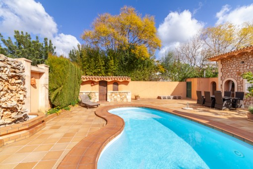 Large pool area with sunlounger