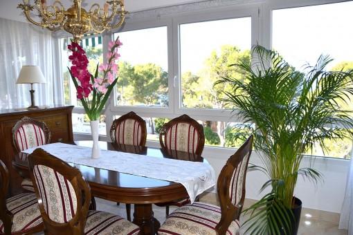 Dining area with panoramic views