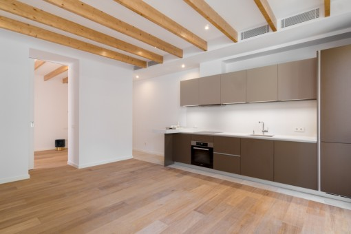 Living and dining area with open kitchen