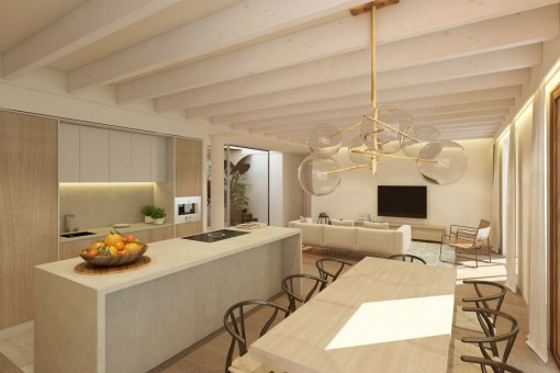 Spacious dining area and fully equipped kitchen