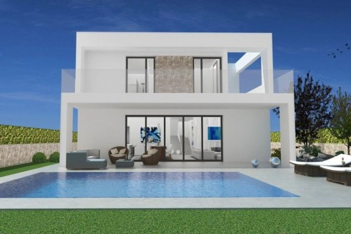 Light-flooded, newly-built villa with sea views only a few metres from Cala Llombards