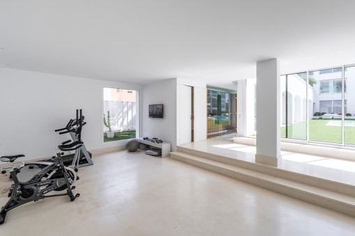 Bright fitness room
