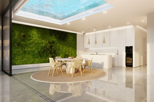 Light-flooded dining area and open kitchen