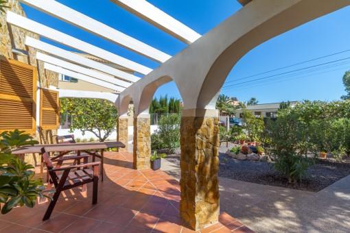Terrace with garden views