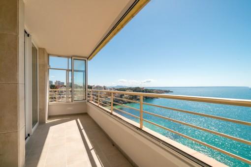 Sunny balcony with sea views