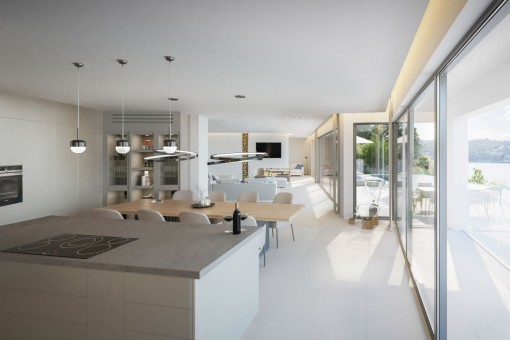 Open living and dining area with panoramic windows