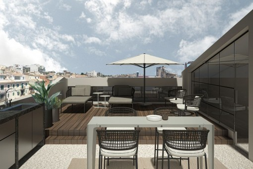 Spacious roof terrace with chill-out lounge