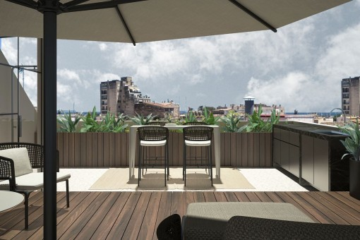 Sunny roof terrace with views