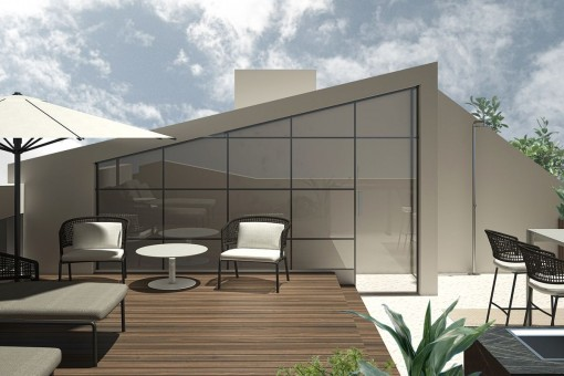 Modern furniture on the roof terrace