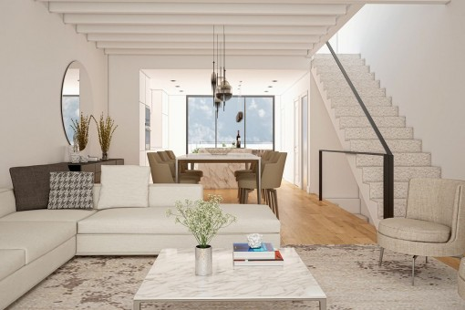Living area with staircase