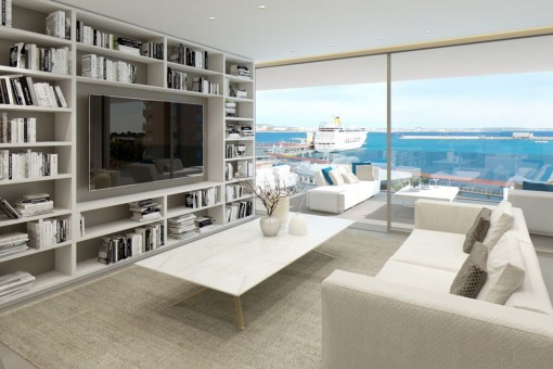 Luxury apartment on the first line with a small garden in Palma
