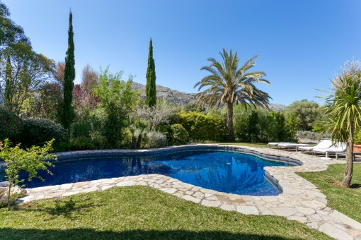 Spacious garden and pool area