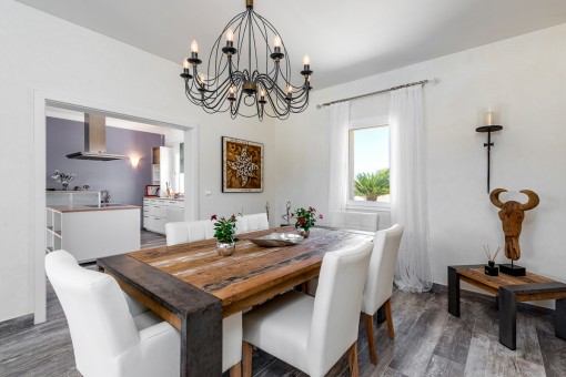 Dining area with unique furniture