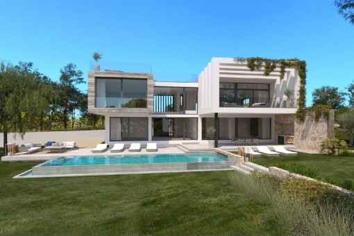 Project for a beautiful detached house with pool in Cala Vinyas