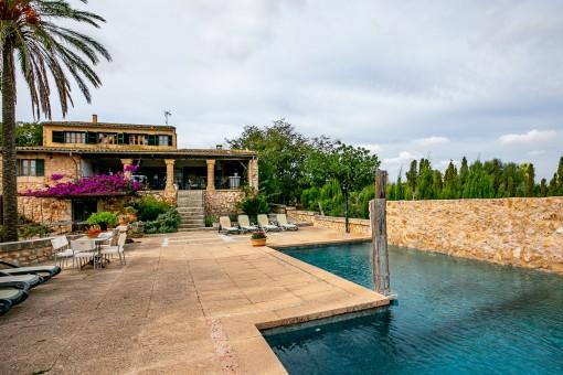 Beautiful terrace and pool area