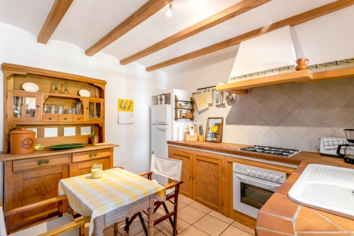 Country house kitchen with dining area