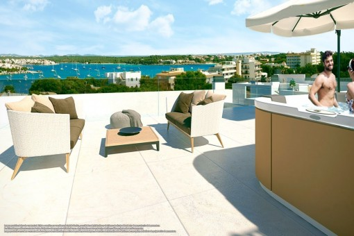 Fantastic roof terrace with sea views