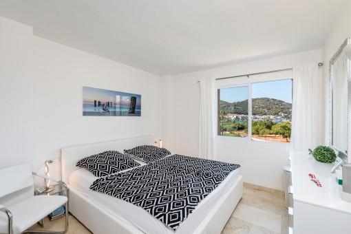Bedroom with sea views