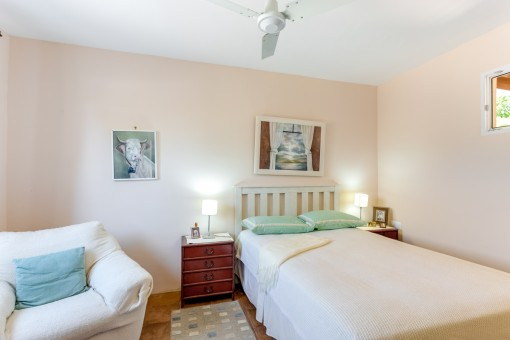 One of 3 bedrooms in the main house