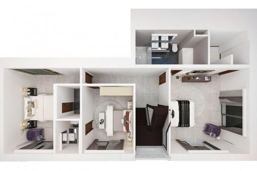Plan of the upper floor
