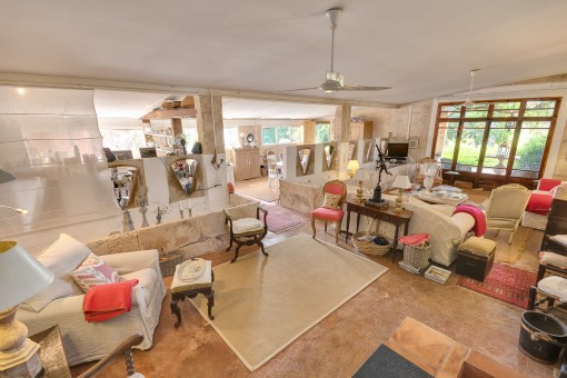 Large living and dining area with kitchen