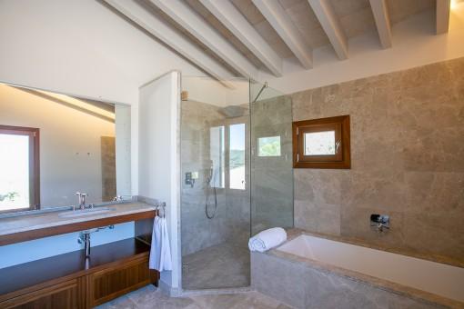 Bathroom with both shower and bath tub