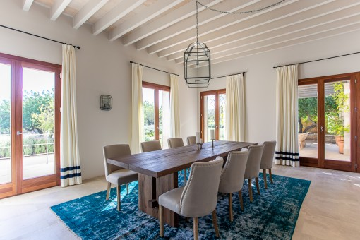 Stylish dining area of the finca