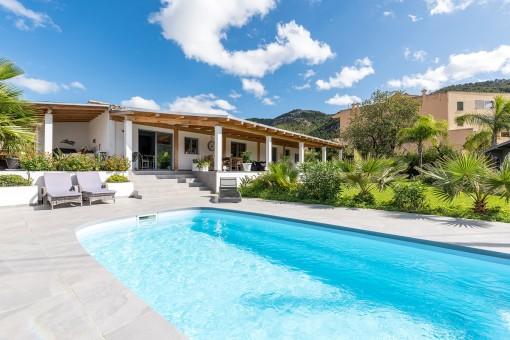 Mediterranean pool and garden