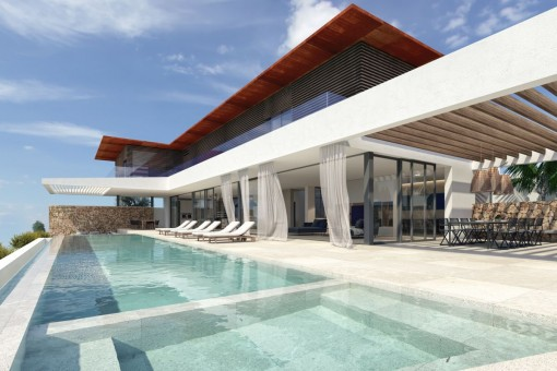 New villa project with sea views in Cala Vinyas