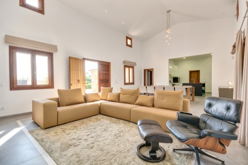 Open-plan living and dining area