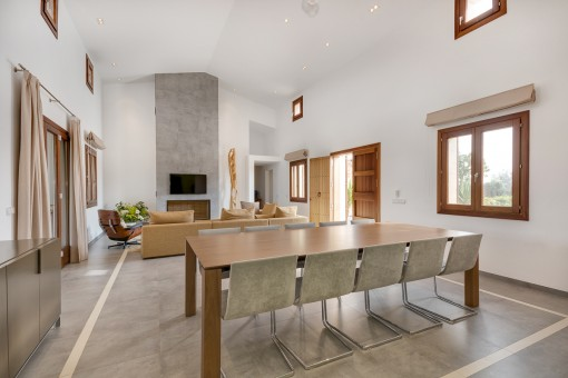 Alternative view of the modern living and dining area