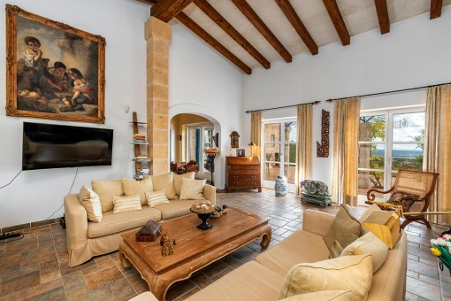 Generous living area with high ceiling