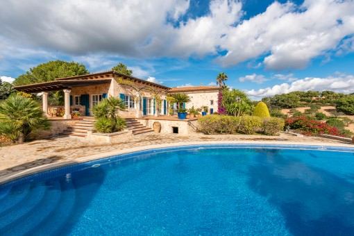 Exterior view of the natural stone finca with pool