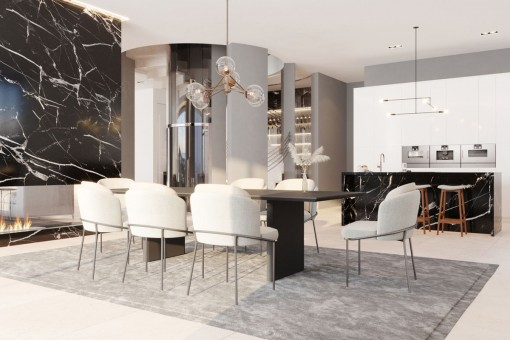 Luxurious dining area and open kitchen