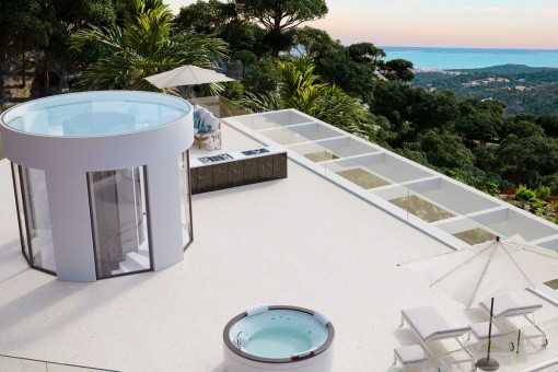 Large roof terrace with sea views