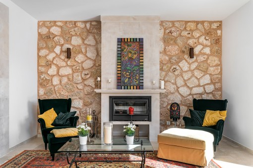 Interior design with natural stone walls